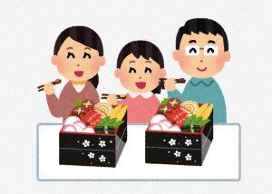 家族でおせち料理を食べる